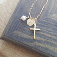 Gold Cross Necklace with Personalized Initial Disc and Freshwater Pearl // Hand Stamped Personalized Jewelry