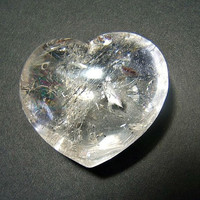 Vintage quartz crystal heart pocket worry spirit stone home decor collectable