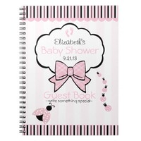Pink Ladybug Baby Shower Guest Book- Notebook