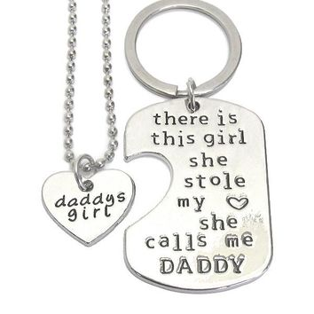 Daddy and Girl Necklace and Key Charm Set - She Calls Me Daddy
