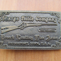 Brass belt buckle Sharps Rifle Company vintage 1973