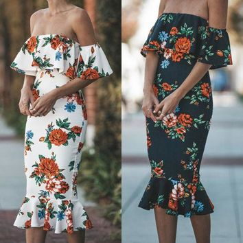 New Women Floral Ruffle Party Bodycon Dresses Women Ladeis Floral Slash Neck Ruched Knee Length Trumpet Dresses Sexy Clothing