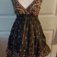 Speed Control NY (M) medium Brown Floral Bohemian Juniors Mini Tea Dress