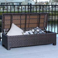 Brown Wicker Storage Ottoman Trunk Patio Furniture Backless Iron Metal Bench