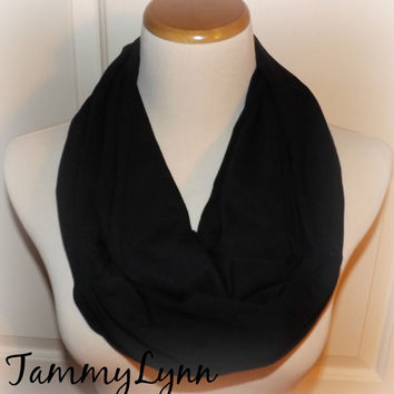 New Solid Black Cotton Spandex Infinity Scarf Jersey Knit Scarf Women's Accessories