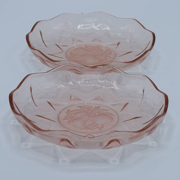 Pink Depression Glass Fruit Bowls Set of 2 Vintage Small Pink Glass Sherbert Dishes Compote Relish Bowls Pear Apple Motif