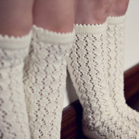 BOOT SOCKS Wool socks Lace socks KNIT knee high socks leg warmers off white