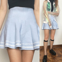 SAMPLE SALE APRIL - KAWAII baby blue Tumblr High Waisted Skirt
