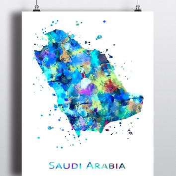 Saudi Arabia Map Art Print - Unframed