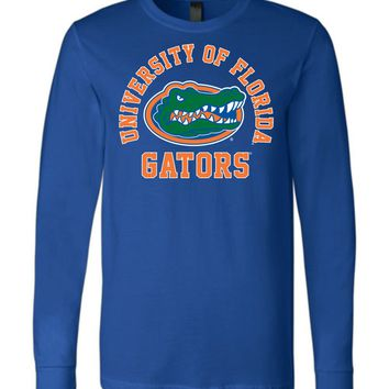 Official NCAA University of Florida Gators The Orange and Blue GATOR NATION! Canvas Long Sleeve T-Shirt - SC33uf