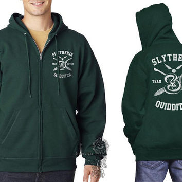 Slytherin Quidditch team Captain Yellow print printed on Deep Forest Zipper Hoodie