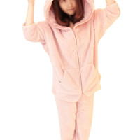 Cute ZIpper Closure Solid Color Hooded Nightclothes