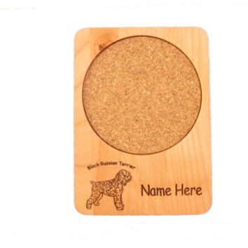 Alder Wood Coaster Personalized with Your Dog's Name and Breed Image