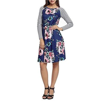 Fashion Women Dress Floral Printed O-Neck Stripe Casual Knee-Length Long Sleeve Dress For Women Plus Size
