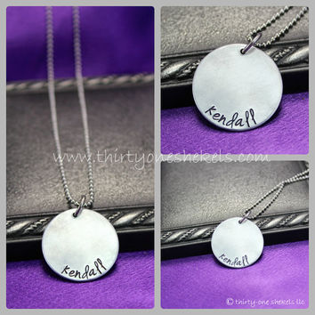 """Personalized Necklace, hand stamped necklace, Mommy necklace, Personalized Mom Necklace, 1"""" (Lg) necklace"""