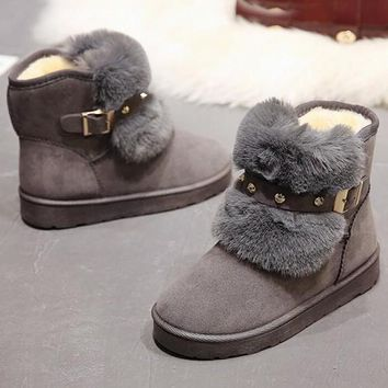 New Grey Round Toe Flat Rivet Fashion Ankle Boots