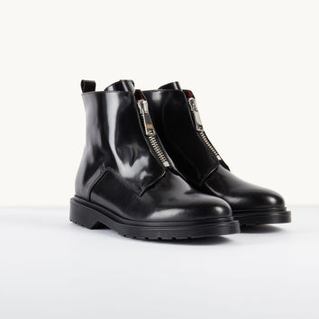 FARIS Leather boots with zip detailing