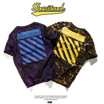 Pullover Short Sleeve Camouflage Cotton Couple T-shirts [10309458951]