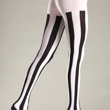 Be Wicked Opaque Vertical Stripe Pantyhose