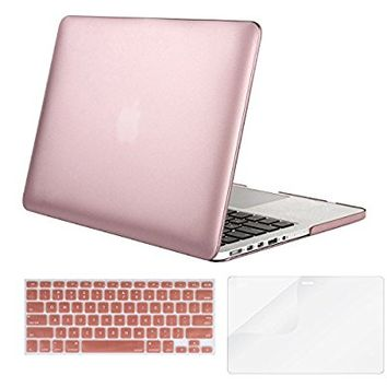 Mosiso Metallic Coated Plastic Hard Case with Keyboard Cover with Screen Protector for Macbook Pro Retina 13 Inch No CD-ROM (A1502/A1425), Rose Gold