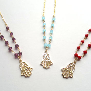 Hamsa Hand Charm on Rosary Chain Necklace Pendant Red Purple Blue Rosary Gold Hamsa Jewelry Hand of Fatima Layering Necklace Colorful Hamsa