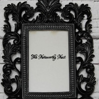Ornate frame // ornate picture frame// Unique frame // 4x6 Frame // Resin Frame // Gloss Black Frame // bedroom decor // black decor