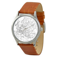 Vintage Map Watch (Europe) in B/W