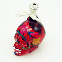 Hand-Painted Skull Head Hookah - Water Pipe - Red