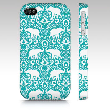 iPhone 5s case, iPhone 5c case, iPhone 5 case, iPhone 4s elephants, elephant damask pattern, tribal elephant henna paisley, teal and white