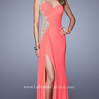 One Shoulder Sheer Cut Out La Femme Prom Dress