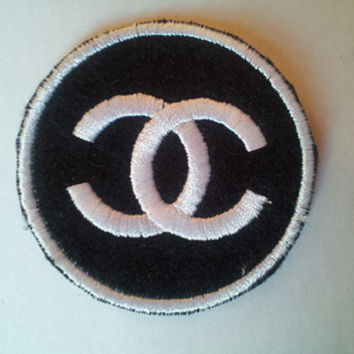 CC Logo Black/White or Black/Gold Round applique iron on patch