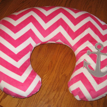 Anchor Nautical Ocean Water Sailing Chevron Minky Cover Fits Boppy Brand Pillow