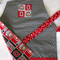 Buckeye Apron - Reversible Ohio State Apron - OSU Apron for Kids