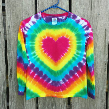 Girls Rainbow Heart Tie Dye Shirt,  Kids Sizes S M L XL,  Long Sleeve Tshirt,  Hippie Kids