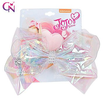 "6"" Transparent Rainbow JoJo Bow With Clip Girls Rhinestone Bowknot Hair Bows Cute Pompom Holder For Kid Hair Accessories"