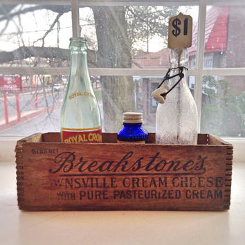Vintage Wooden Breakstone's Cream Cheese Box / Vintage Planter Box / Small Wood Crate / Shadow Box