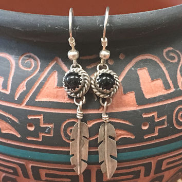 Navajo Feather Earrings Black Onyx Sterling Silver Pierced