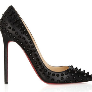 Spike Rivets Patent Leather High Heels