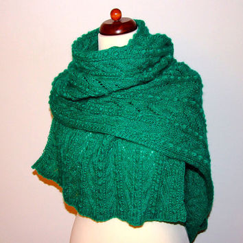 oversize knit scarf, shimmering emerald green wrap, cozy knit shawl