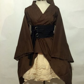 Gothic Waloli Kimono Set in Brown and Beige