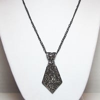 Black Tie Focal Necklace Black Silver Rhinestone Tie Pendant Everyday Minimalist Jewelry