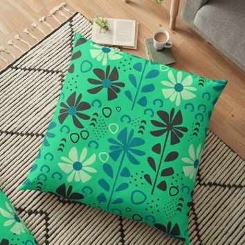 'Fresh dreamy flowers' Floor Pillow by cocodes