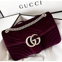 GUCCI Marmont Fashion New Women Satchel Velvet Shopping Leather Metal Chain Shoulder Bag Crossbody