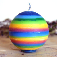 Rainbow Ball Shaped Soy Candle Multi-coloured Pillar Candle.