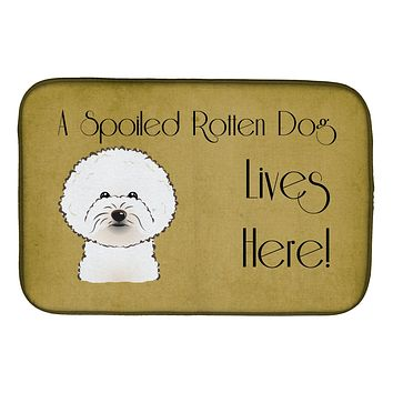 Bichon Frise Spoiled Dog Lives Here Dish Drying Mat BB1465DDM
