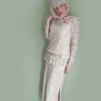 80s Vintage Couture Rhinestone Studded Pink Lace Gown by Rose Taft - Pink Bridal - 20s Style