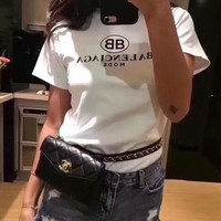 Balenciaga 2018 spring and summer new double B letter printing fashion trend short sleeve F-ZYHFS white