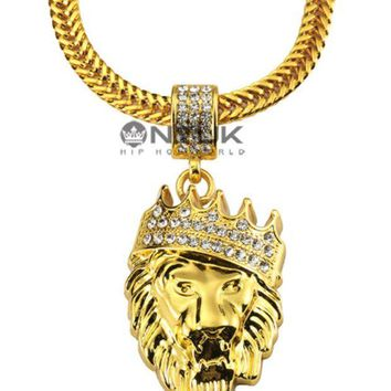 VONEYW7 the new 18k real gold diamond crown jewels hiphop pendant necklace hiphop jewelry spot agent