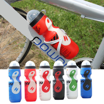 Portable Plastic Outdoor 750ml Mountain Bike Bicycle Cycling Sports Water Bottle with Straw Lid black color