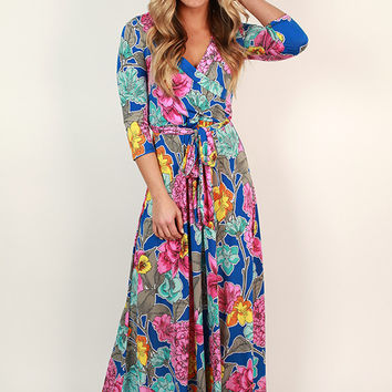 Fields Of Pretty Maxi Dress in Snorkel Blue